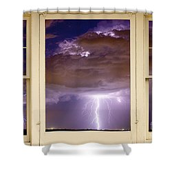 Double Lightning Strike Picture Window Shower Curtain by James BO  Insogna