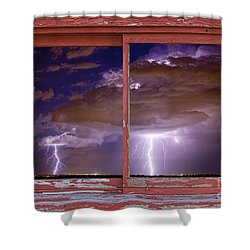 Double Trouble Lightning Picture Red Rustic Window Frame Photo A Shower Curtain by James BO  Insogna