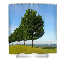 Down By The Lake Shower Curtain by Sarah Vandenbusch
