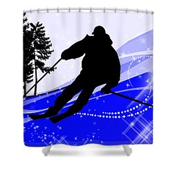 Downhill On The Ski Slope  Shower Curtain by Elaine Plesser