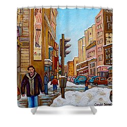 Downtown Montreal Paintings Shower Curtain by Carole Spandau