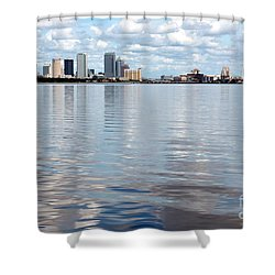 Downtown Tampa Over Hillsborough Bay Shower Curtain by Carol Groenen