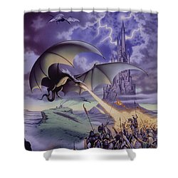 Dragon Combat Shower Curtain by The Dragon Chronicles - Steve Re