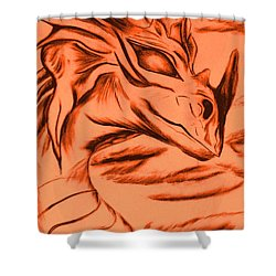 Shower Curtain featuring the drawing Dragon In Color by Maria Urso