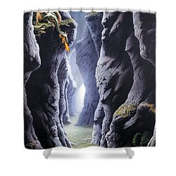 Dragons Pass Shower Curtain by The Dragon Chronicles - Steve Re
