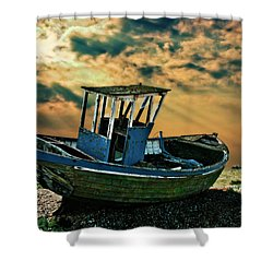 Dramatic Dungeness Shower Curtain by Meirion Matthias