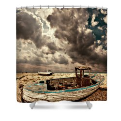 Dreamy Wrecked Wooden Fishing Boats Shower Curtain by Meirion Matthias