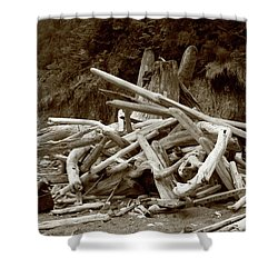 Driftwood Pile San Juan Shower Curtain