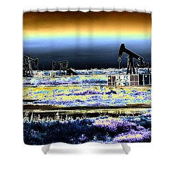 Drilling For Black Gold Shower Curtain by Diana Haronis