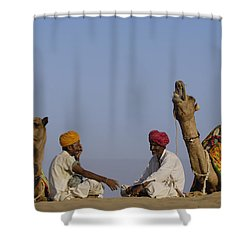 Dromedary Camelus Dromedaries Pair Shower Curtain by Pete Oxford