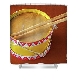 Drum Toy Shower Curtain by Carlos Caetano