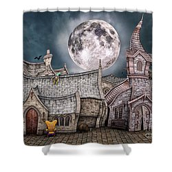 Drunken Village Shower Curtain by Jutta Maria Pusl
