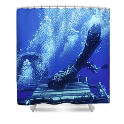 Dry Deck Shelter Rewmen Release Shower Curtain by Michael Wood
