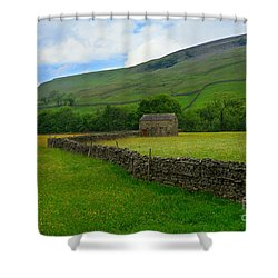 Dry Stone Walls And Stone Barn Shower Curtain by Louise Heusinkveld
