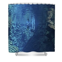 Dry Suit Divers Entering The Gin Clear Shower Curtain by Mathieu Meur
