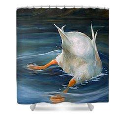 Duck Butt Shower Curtain by Mary Sparrow