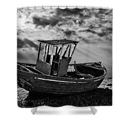 Dungeness In Mono Shower Curtain by Meirion Matthias