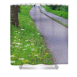 Dutch Bicycle Path - Digital Painting Shower Curtain by Carol Groenen