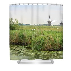 Dutch Landscape With Windmills And Cows Shower Curtain by Carol Groenen