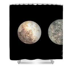 Dwarf Planets Ceres, Pluto, And Eris Shower Curtain by Walter Myers