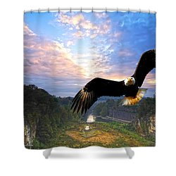 Shower Curtain featuring the photograph Eagle At Paint Creek Dam by Randall Branham