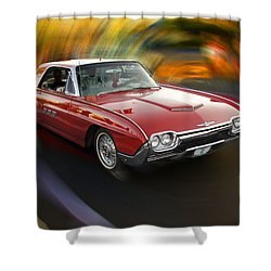Early 60s Red Thunderbird Shower Curtain by Mick Anderson
