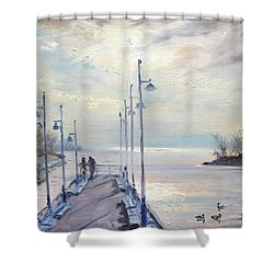 Early Morning In Lake Shore Shower Curtain by Ylli Haruni