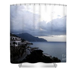 Early Morning View Of Amalfi From Santa Caterina Hotel  Shower Curtain