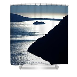 Shower Curtain featuring the photograph Early Night Santorini Island Greece by Colette V Hera  Guggenheim