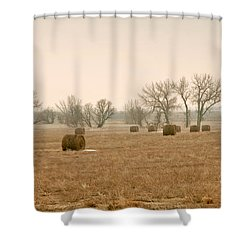 Earlying Morning Hay Bails Shower Curtain by James Steele