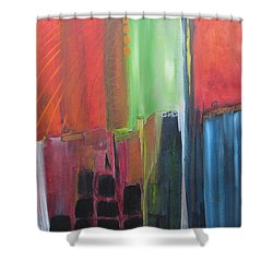 Shower Curtain featuring the painting Earth Layers by Nicole Nadeau