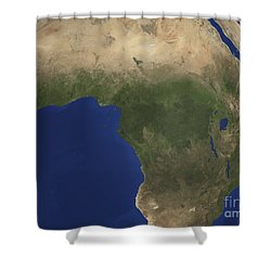 Earth Showing Landcover Over Africa Shower Curtain by Stocktrek Images