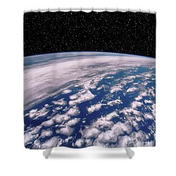 Earth With Starfield Shower Curtain by NASA / Science Source