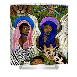 Earthangels Abeni And Adesina From Africa Shower Curtain by The Art With A Heart By Charlotte Phillips