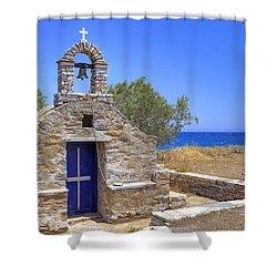 east coast Naxos Shower Curtain by Joana Kruse