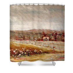 Eastern Townships Quebec Painting Shower Curtain by Carole Spandau