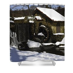 Eastern University Waterwheel Historic Place Shower Curtain by Sally Weigand