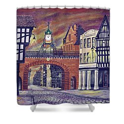 Eastgate Clock - Chester Shower Curtain by Ronald Haber
