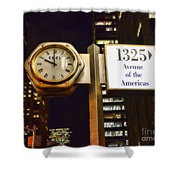 Ebel Street Clock In Nyc Shower Curtain by Paul Ward