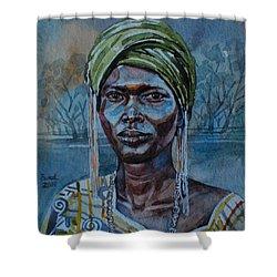 Ebony Girl Shower Curtain by Mohamed Fadul