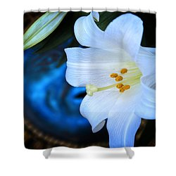 Shower Curtain featuring the photograph Eclipse With A Lily by Steven Sparks