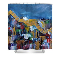 Economic Meltdown Shower Curtain by Judith Rhue