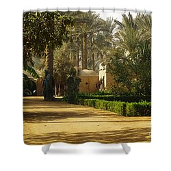 Egyptian Courtyard In The Late Afternoon Shower Curtain by Mary Machare