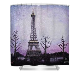 Eiffel At Night Shower Curtain