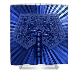 Shower Curtain featuring the digital art El Azul Del Mar by Manny Lorenzo