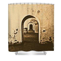 El Morro Fort Barracks Arched Doorways San Juan Puerto Rico Prints Rustic Shower Curtain by Shawn O'Brien