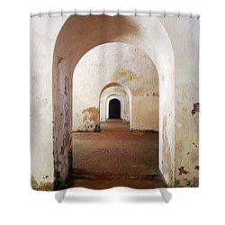 El Morro Fort Barracks Arched Doorways Vertical San Juan Puerto Rico Prints Shower Curtain by Shawn O'Brien