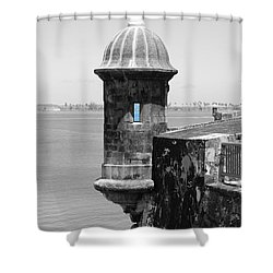 El Morro Sentry Tower Color Splash Black And White San Juan Puerto Rico Shower Curtain by Shawn O'Brien