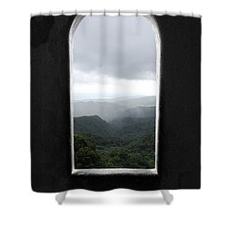 Shower Curtain featuring the photograph El Yunque Cloudburst Color Splash Black And White by Shawn O'Brien