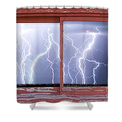 Electric Skies Red Barn Picture Window Frame Photo Art  Shower Curtain by James BO  Insogna
